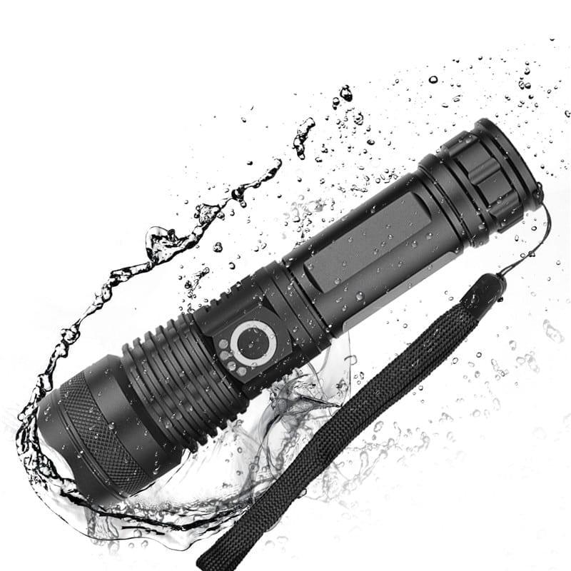 Powerful Black LED Flashlight with Zoom