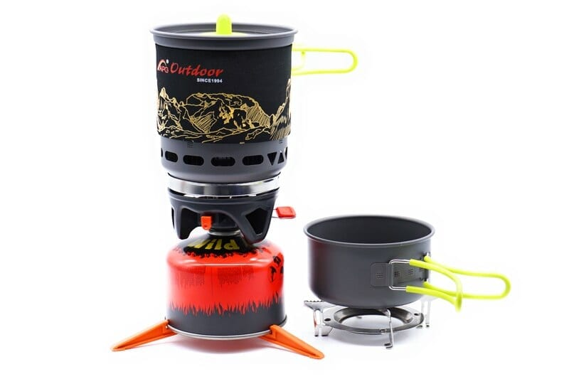 Portable Outdoor Gas Cooking System with Bowl and Pot